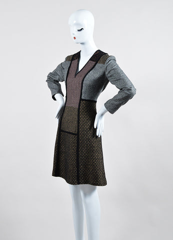 Brown and Black Etro Wool Tweed Patchwork V Neck Long Sleeve Sheath Dress Sideview