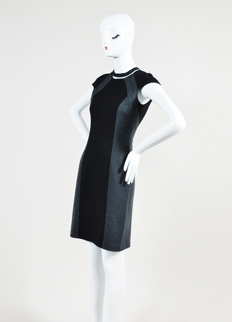 Black and Grey Fendi Interlock Knit Color Block Cap Sleeve Dress Sideview