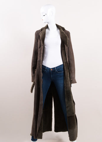 Giorgio Armani Brown Suede Leather and Fur Long Sleeve Full Length Belted Coat Frontview