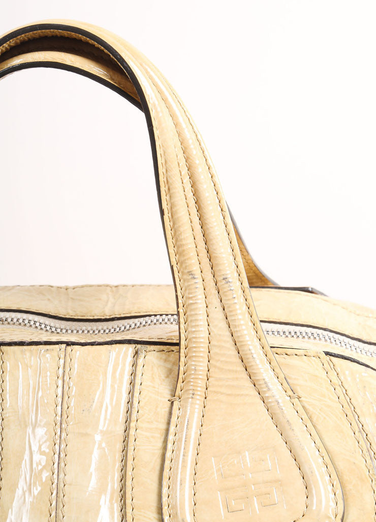 "Givenchy Beige Crinkled Patent Leather Large ""Nightingale"" Tote Bag Detail 2"