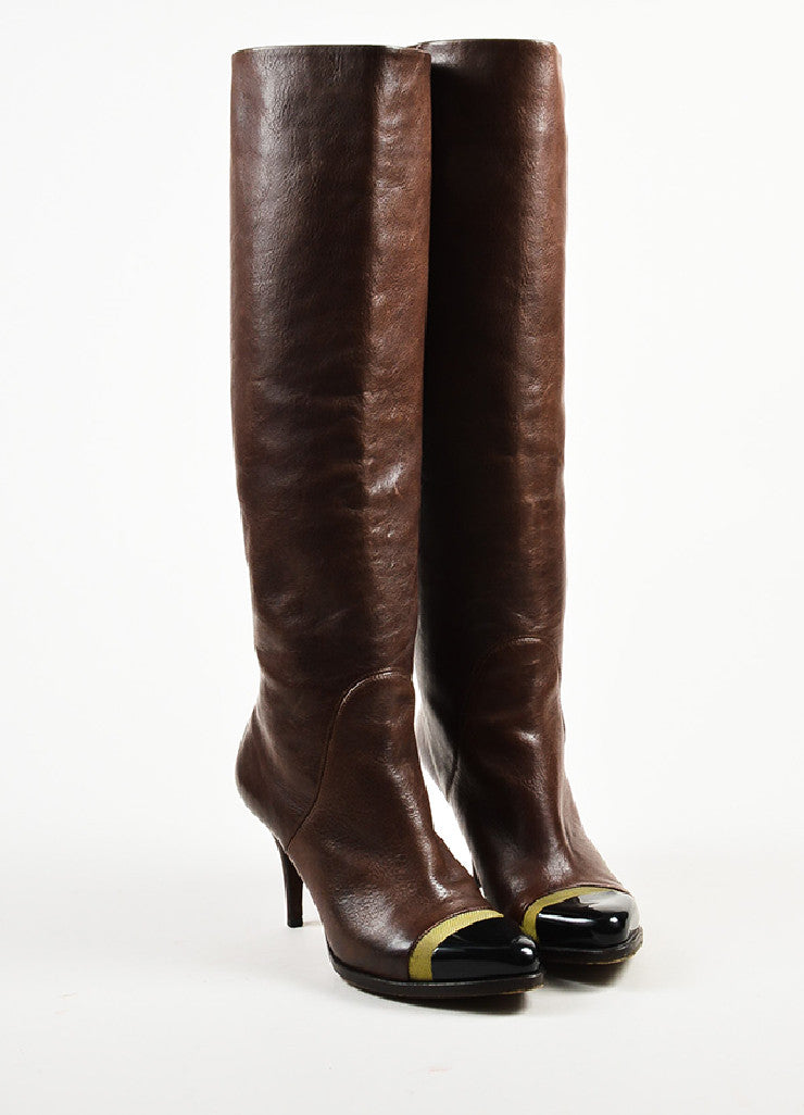 Givenchy Brown Leather Patent Cap Toe Mesh Stripe Pointed Knee High Boots Frontview