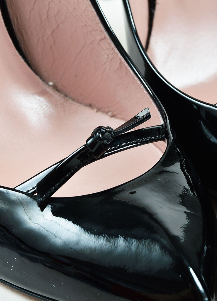 Gucci Black Patent Leather Bow Detail Pointed Toe Stilettos Detail