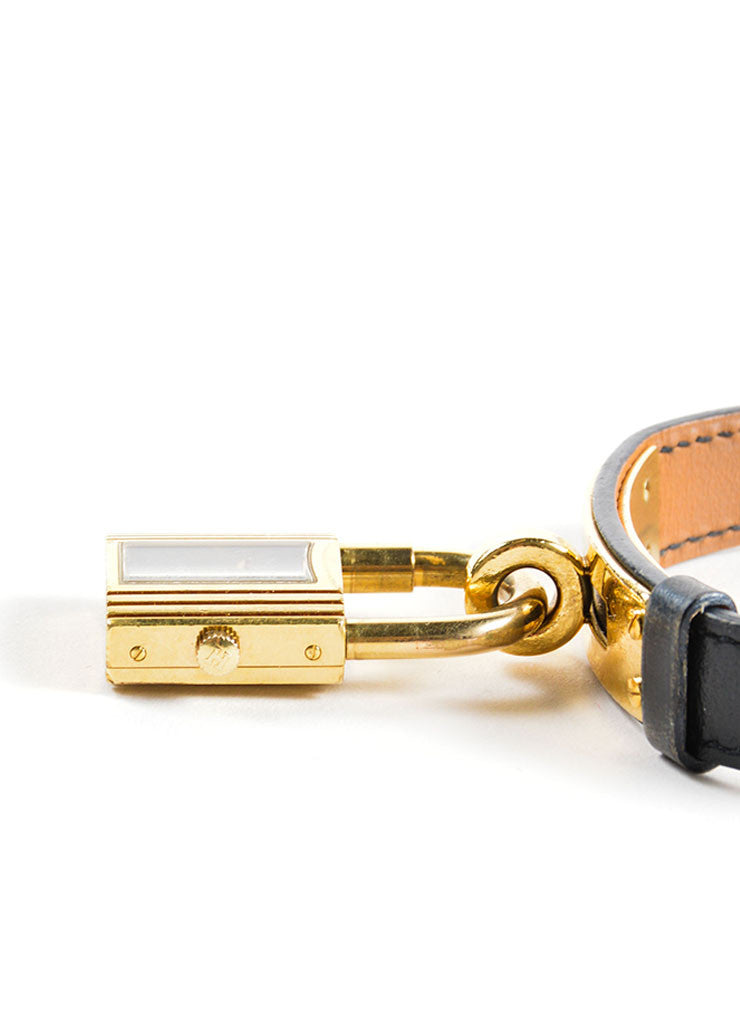 "Hermes Black and Gold Plated Steel Barenia Leather Padlock ""Kelly"" Watch Detail 2"