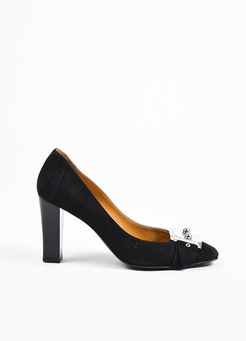 å´?ÌÜHermes Black Suede Silver Toned Lock Buckle Square Toe Pumps Sideview