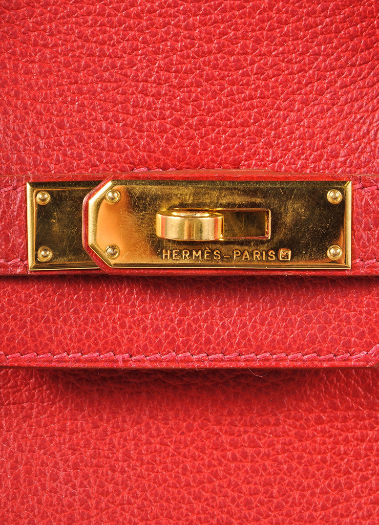 "Hermes Red and Gold Toned ""Rouge Garance"" Buffalo Skipper Leather 35cm Birkin Bag Detail 6"