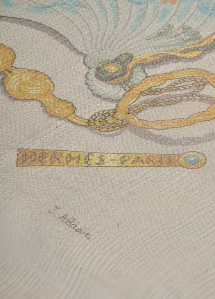 Hermes Grey, Black, and Green Silk Chiffon Equestrian Print Scarf Brand