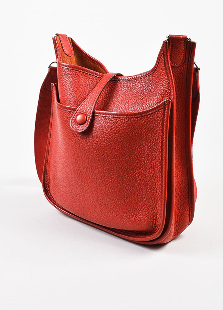 "Hermes Red Clemence Leather Canvas Strap ""Evelyne II PM"" Shoulder Bag Sideview"