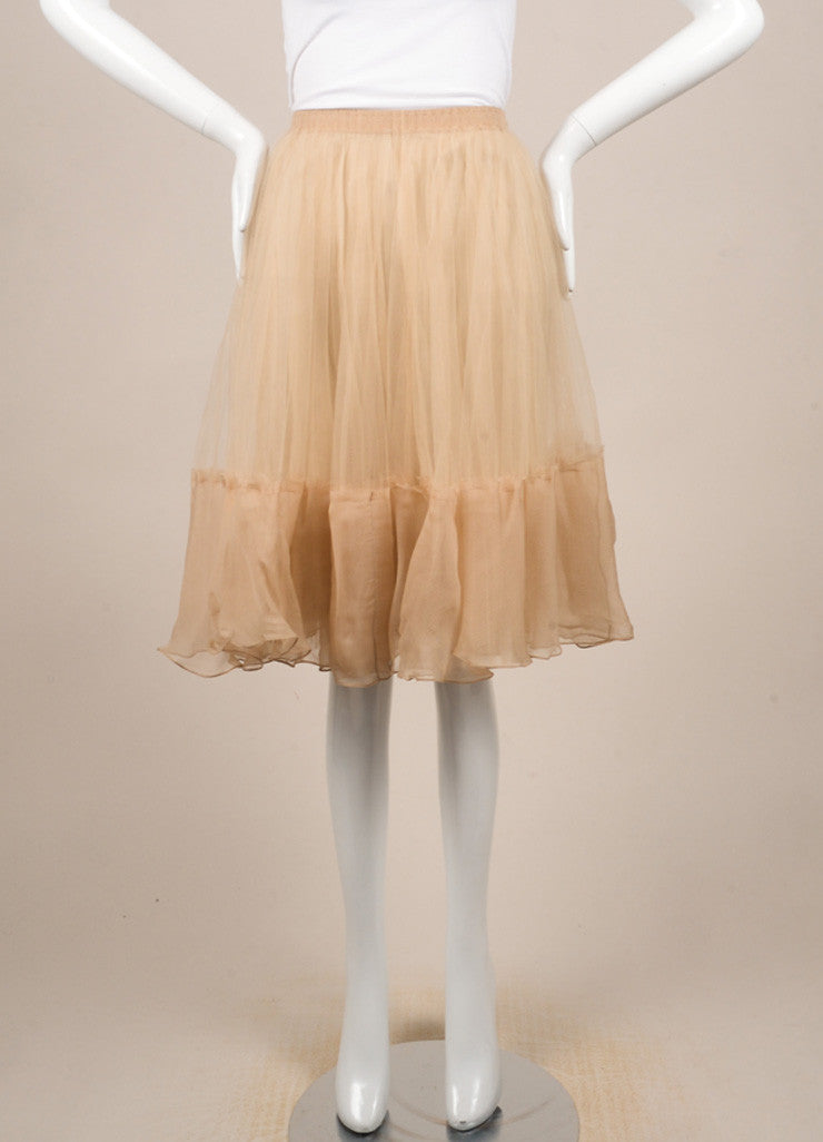 J. Mendel Nude Tulle Full Knee Length Skirt Frontview