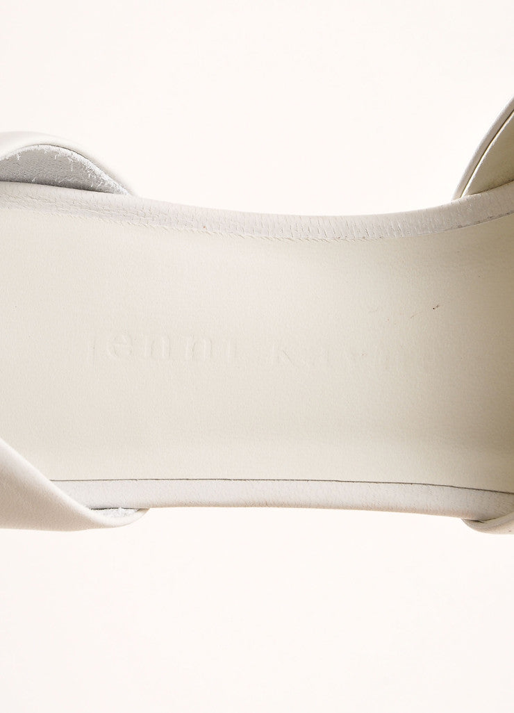 Jenni Kayne New In Box White and Cognac Leather D'Orsay Pointed Toe Flats Brand