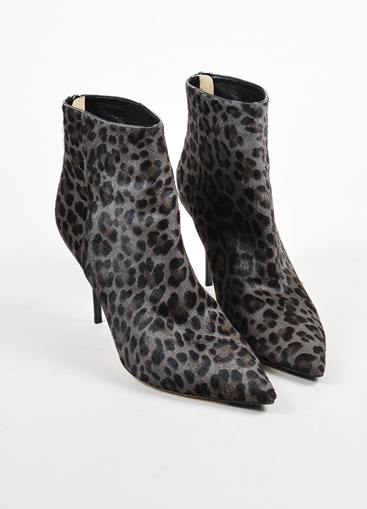 "Black and Grey Jimmy Choo Pony Hair Leopard Print ""Amore"" Ankle Booties Frontview"