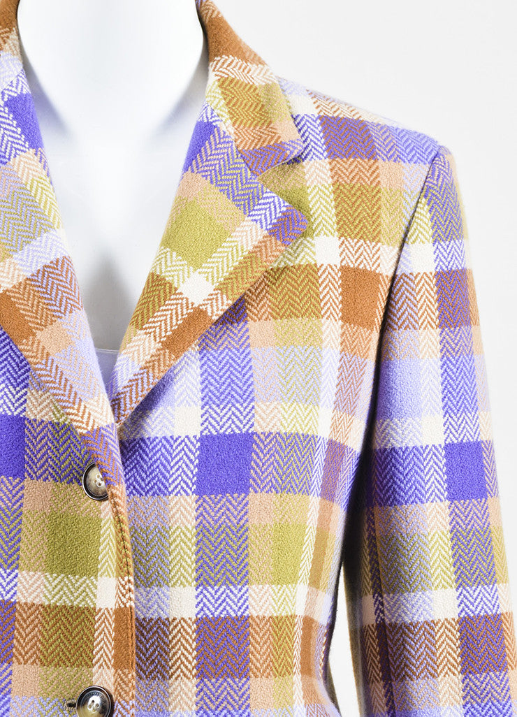 Loro Piana Tan, Purple, and Green Wool Chevron Plaid Button Up Coat Detail