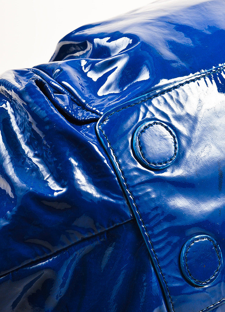 "Christian Louboutin Blue Patent Leather Ruched ""Telescope"" Hobo Bag Detail"