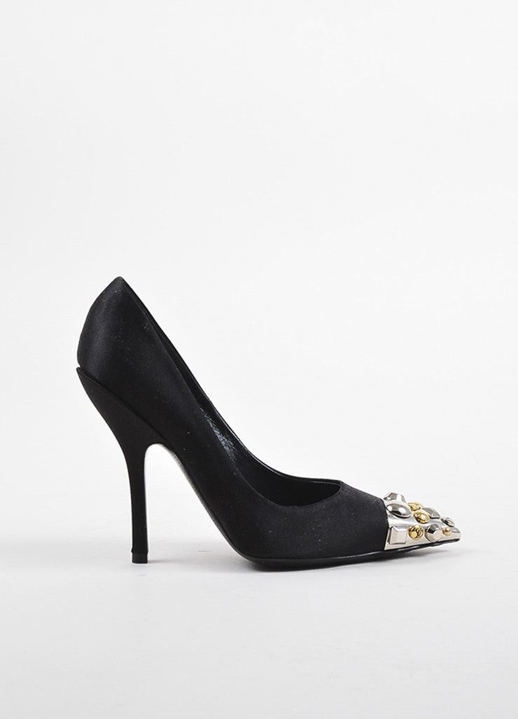 Louis Vuitton Black Silver and Gold Toned Satin Studded Pointed Cap Toe Pumps Sideview