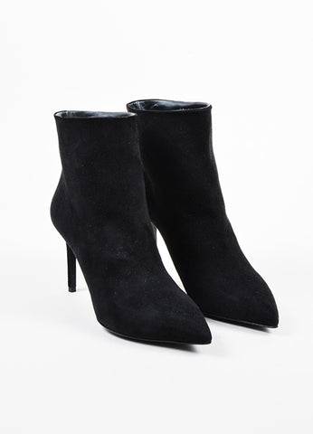 Black Leather Buckle Knee High Pointed Toe Boots