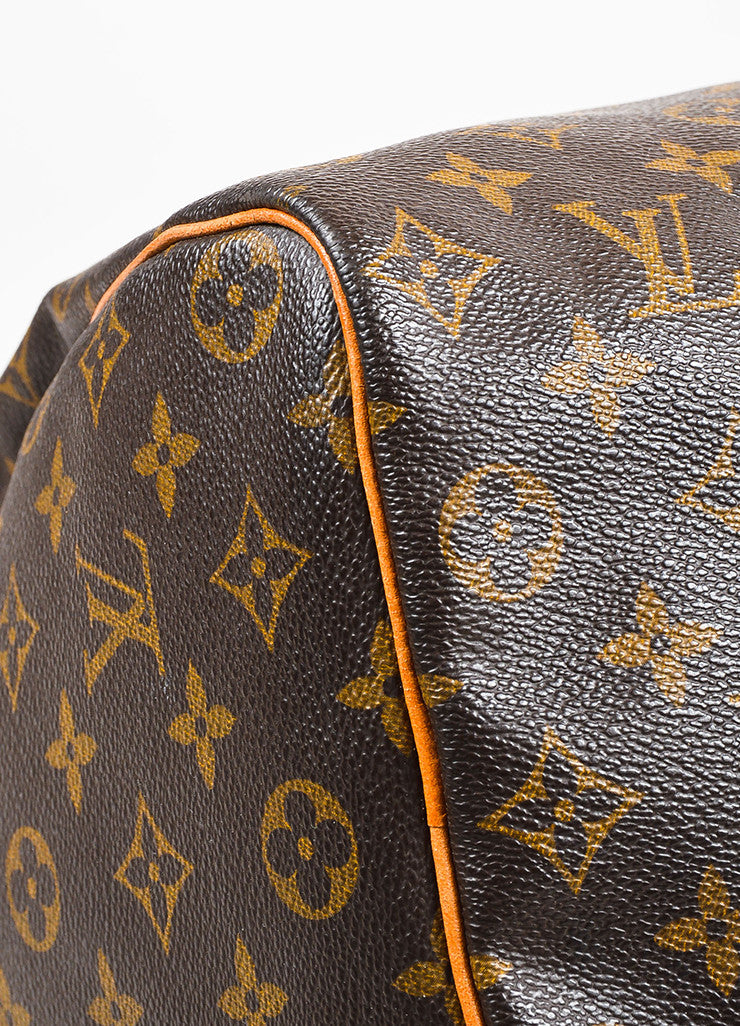 "Louis Vuitton Brown and Tan Coated Canvas Leather Monogram ""Speedy 35"" Bag Detail"
