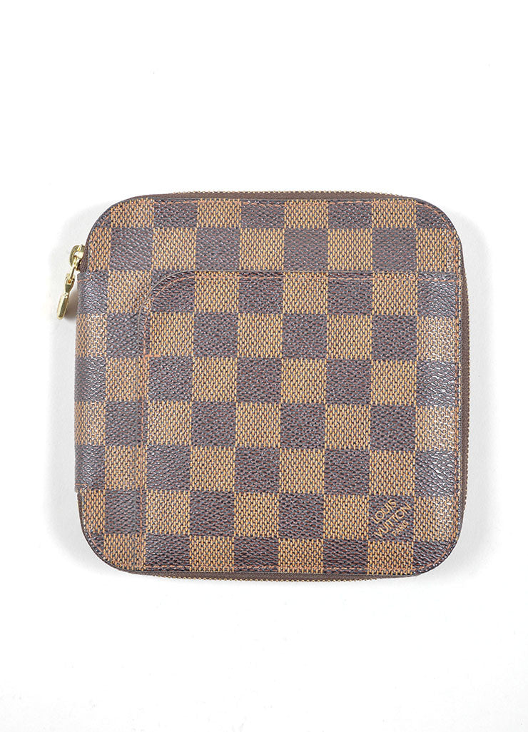 "Louis Vuitton Brown and Tan ""Ebene"" Coated Canvas Damier ""Olav"" Organizer Wallet Frontview"