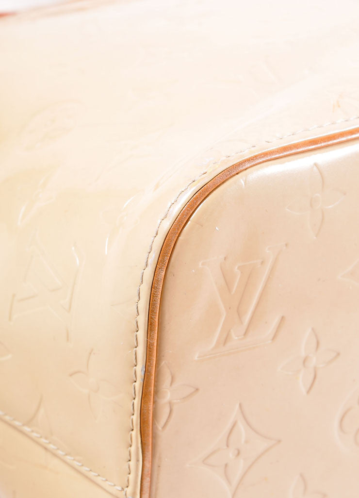 "Louis Vuitton Cream Monogram Vernis ""Houston"" Tote Bag Detail"