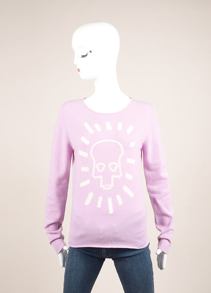 Lucien Pellat-Finet New With Tags Lavender Purple Cashmere Skull Sweater Frontview