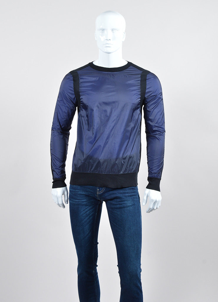 Men's Black Navy Givenchy Knit Cotton Long Sleeve Shirt Front