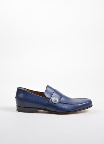 Men's Gucci Blue Leather Logo Medallion Loafers Side