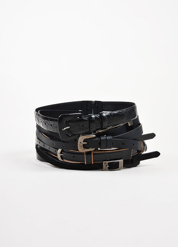 Maison Martin Margiela Black Multi Leather Strip Buckle Wide Waist Belt front