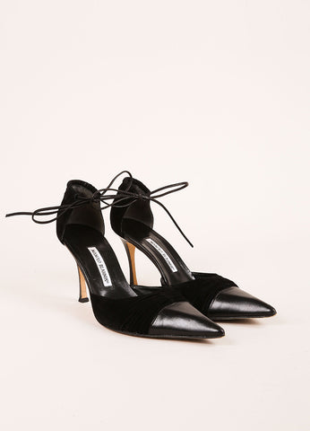 Black Suede Leather Ruched Tie Pointed Toe Pumps