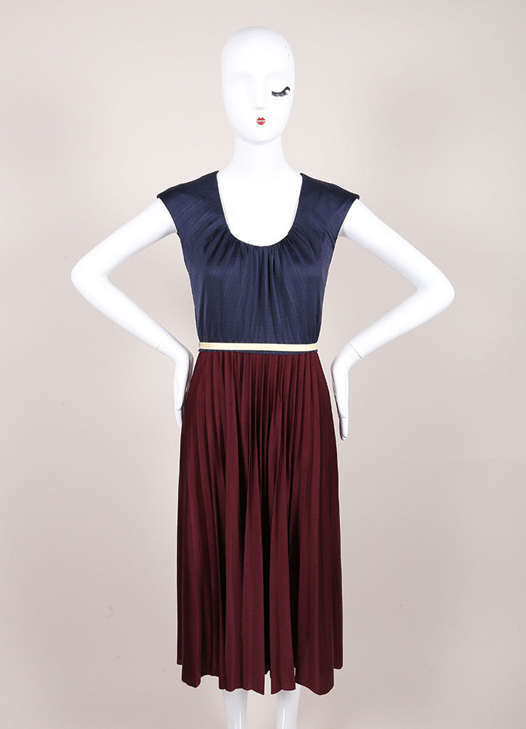 Marc Jacobs New With Tags Navy and Maroon Color Block Pleated Silk Jersey Dress Frontview
