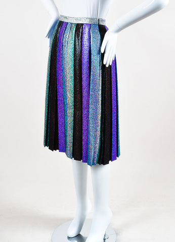 Marco de Vincenzo Rainbow Multicolor Glittered Pleated Midi Length Skirt Sideview