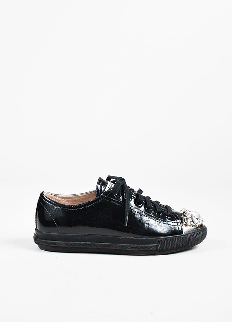 Miu Miu Black Patent Leather Swarovski Crystal Cap Toe Sneakers Side