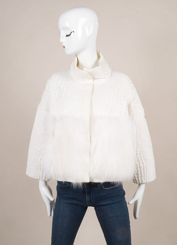 "Moncler New With Tags White Fur and Croc Embossed Down Cropped ""Audrey"" Jacket Frontview"