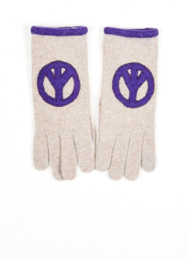 Grey and Purple Moschino Lambswool and Angora Blend Peace Sign Winter Gloves Backview