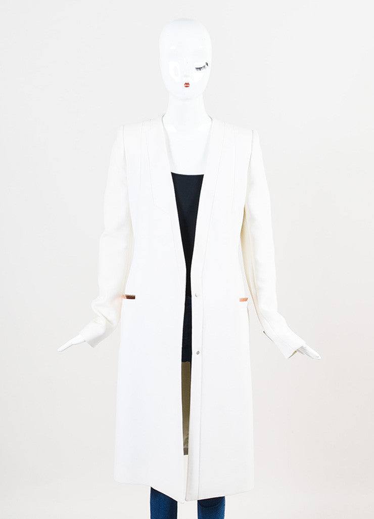 "Mugler White and ""Copper"" Virgin Wool Crepe Structured Midi Coat Frontview"
