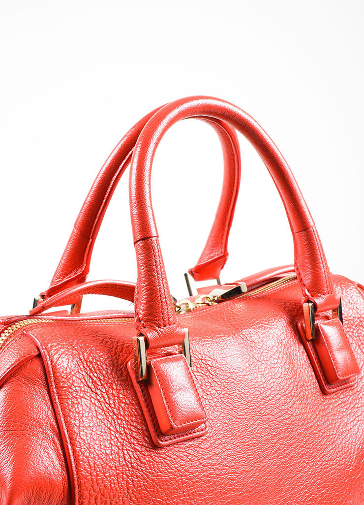 Red Leather Narciso Rodriguez Medium Bowler Tote Bag Detail 2