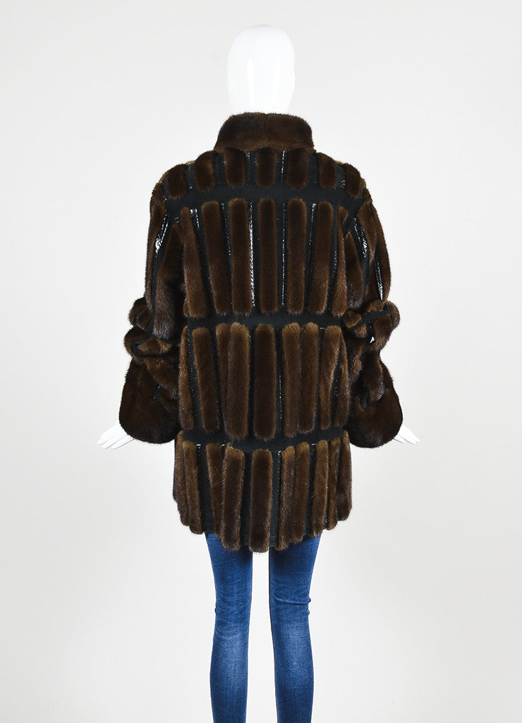 Neiman Marcus Brown and Black Mink Fur and Suede Snakeskin Trim Coat Backview