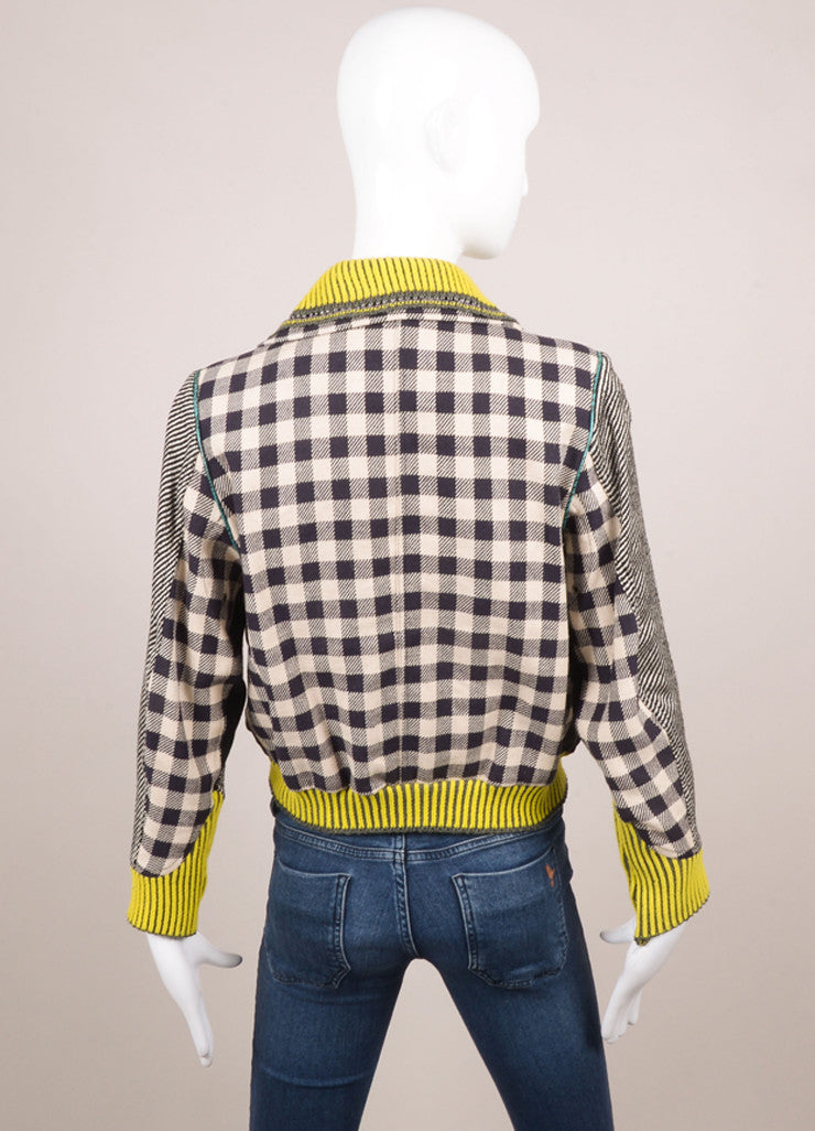 Opening Ceremony Tan, Black, and Neon Lime Checkered Colorblock Bomber Jacket Backview