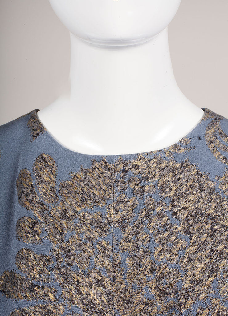 Oscar de la Renta Grey, Blue, and Tan Cotton Embroidered Sleeveless A-Line Dress Detail