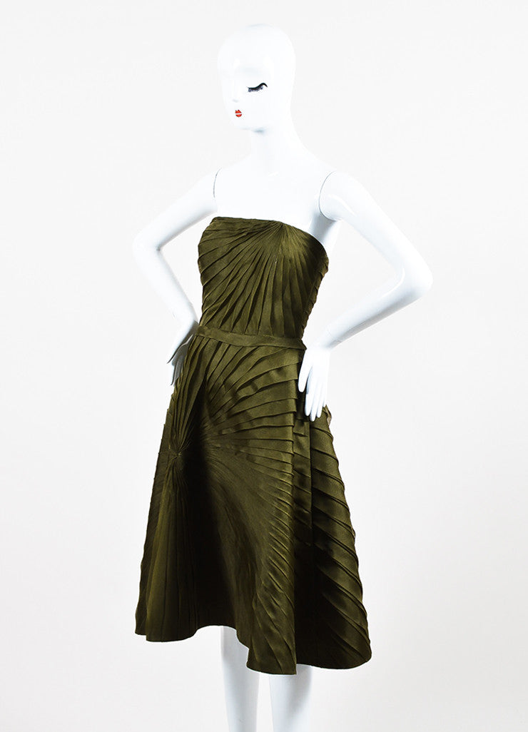 Oscar de la Renta Olive Green Silk Chiffon Tiered Pleated Strapless Dress Sideview