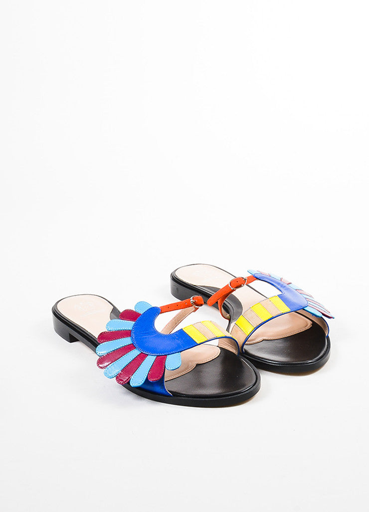 "Paula Cademartori Black Multicolor ""Lotus"" Open Toe Mule Sandals Front"