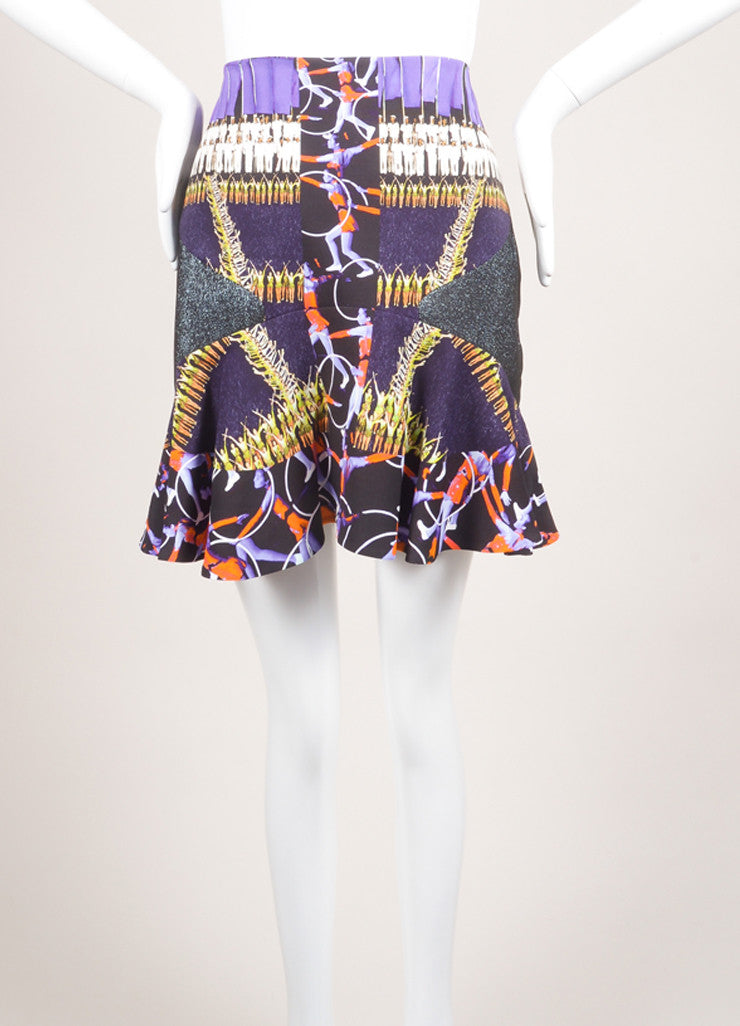 Peter Pilotto New With Tags Purple and Black Abstract Figure Printed Flounce Skirt Frontview