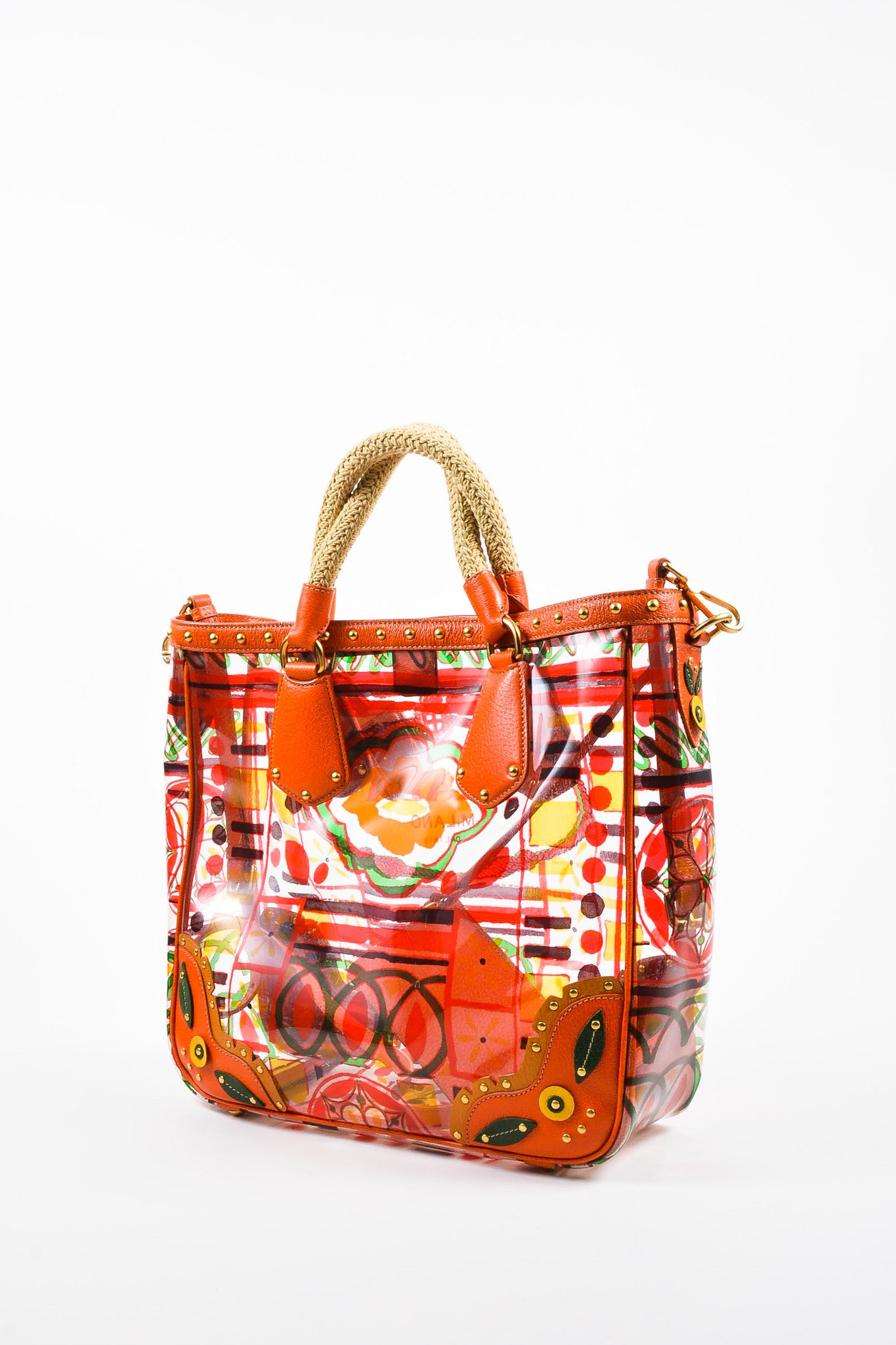 "Orange and Multicolor Prada Leather and PVC Floral Crossbody ""Plex Stampato"" Tote Bag Sideview"