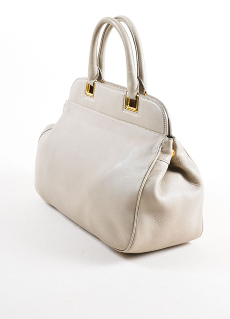 Prada Grey and Gold Toned Leather Top Handle Bag Sideview
