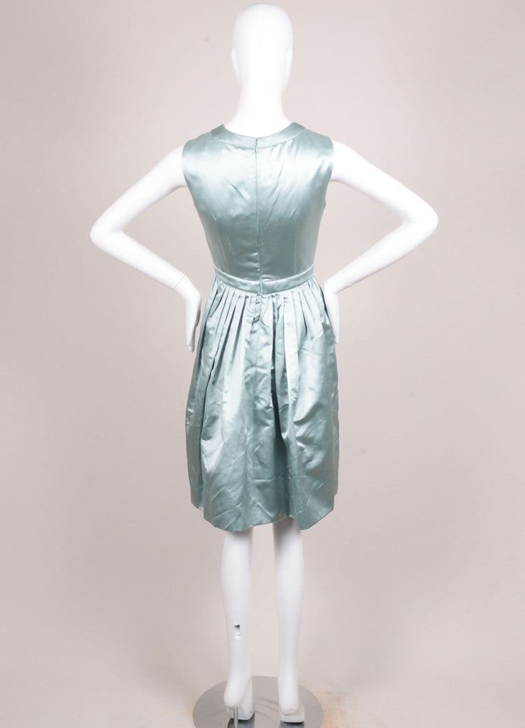 Prada Green Silk Satin Ruffle Trim Sleeveless Dress Backview