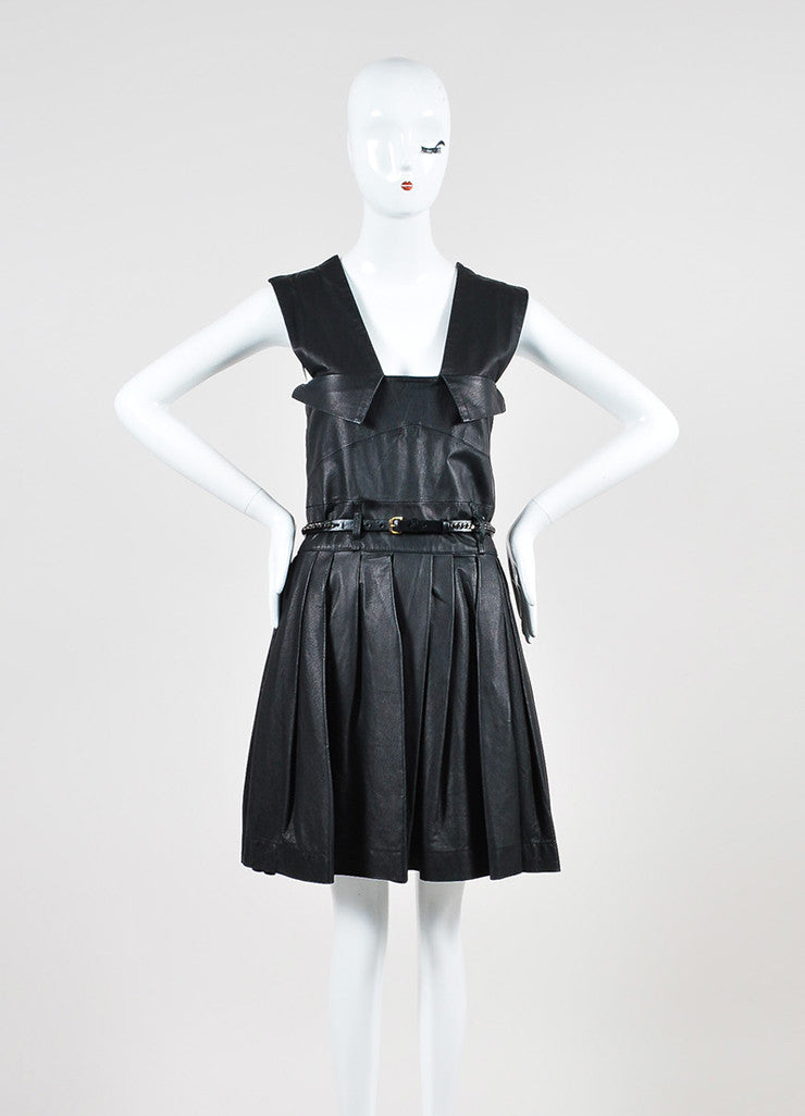 "Preen Line ""Simone"" Black Leather Pleated Belted Overall Dress Frontview"
