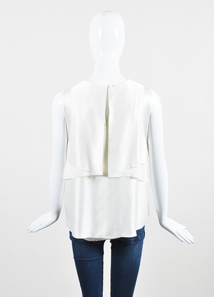 ¥éËProenza Schouler White Satin Ruffle Layered Sleeveless Blouse Backview