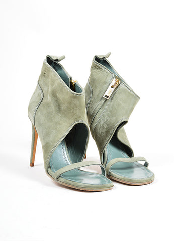 Rick Owens Sage Green Suede Open Toe Heeled Booties Frontview