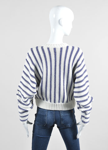 Cream and Navy T by Alexander Wang Chunky Knit Striped Sweater Backview