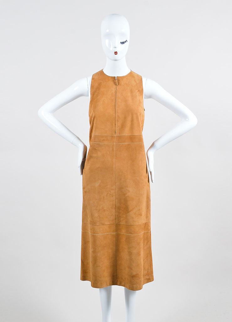 "The Row Sugar Cane Tan Suede Zipper Zip ""Stroner"" Sleeveless Shift Dress Frontview"