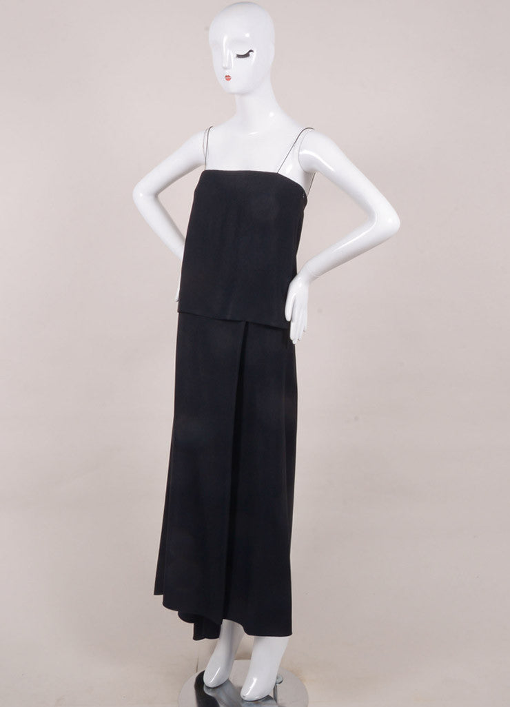 The Row New With Tags Navy Layered Spaghetti Strap Maxi Dress Sideview