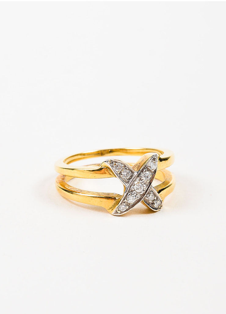 18K Yellow Gold and Diamond X Criss Cross Split Shaft Ring Sideview