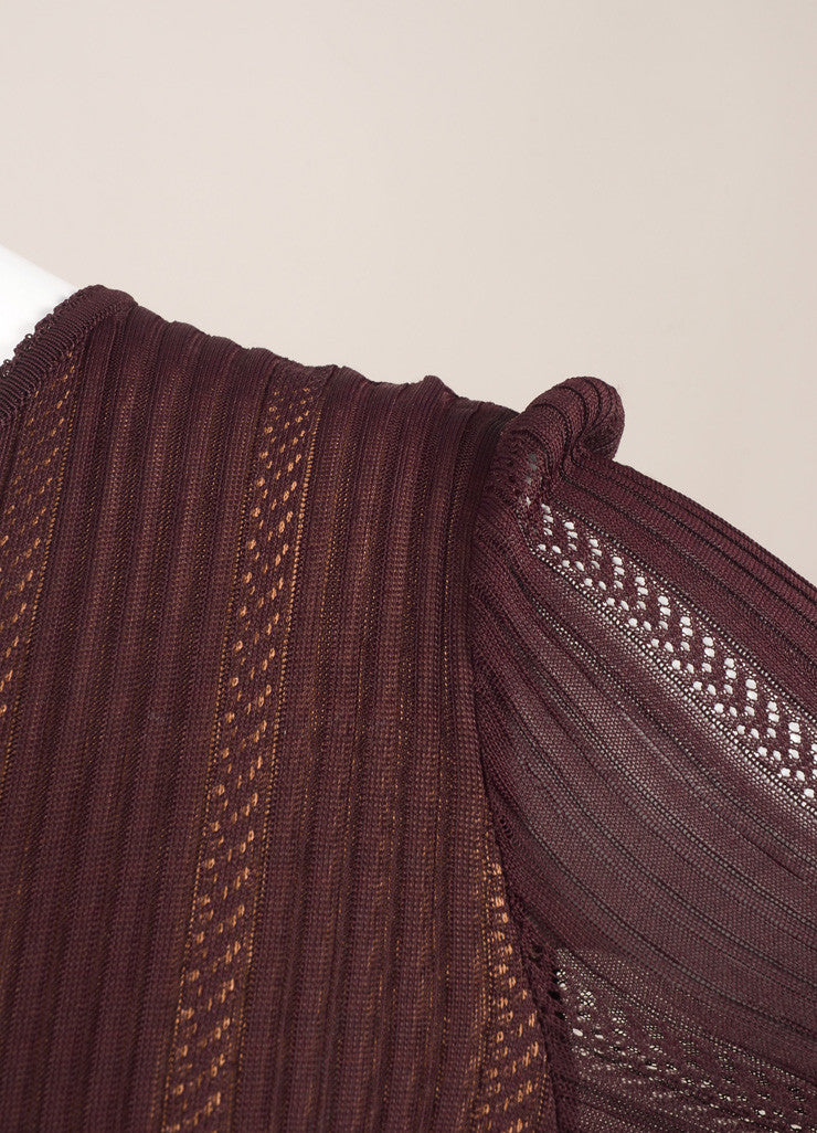 Alaia Burgundy Knit Long Sleeve Stretch Flounce Dress Detail